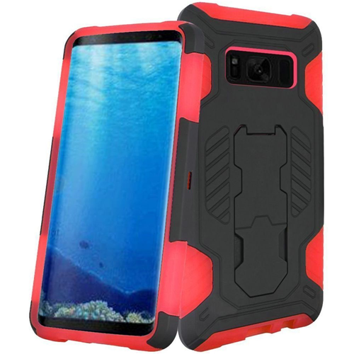 Insten SuperCoil Hard Hybrid Plastic Case w/stand For Samsung Galaxy S8, Black/Red