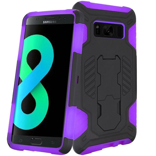 Insten SuperCoil Hard Hybrid Plastic Case w/stand For Samsung Galaxy S8 Plus, Black/Purple