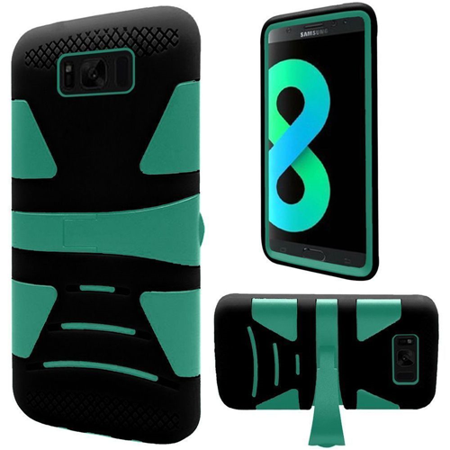 Insten Hard Dual Layer Plastic TPU Cover Case w/stand For Samsung Galaxy S8 Plus, Teal/Black