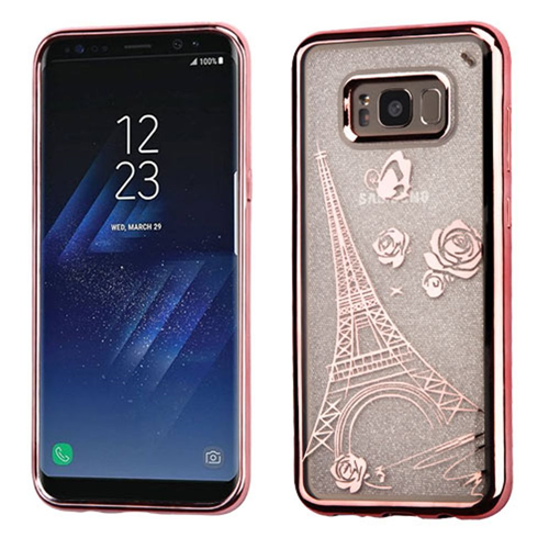 Insten Glitter Eiffel Tower Rubber Transparent Case For Samsung Galaxy S8, Rose Gold
