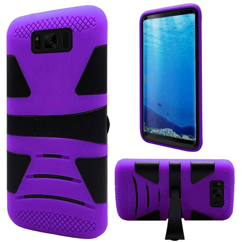 Insten Hard Hybrid Plastic TPU Case w/stand For Samsung Galaxy S8, Black/Purple