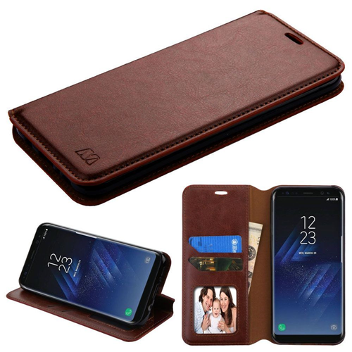 Insten Book-Style Leather Fabric Case w/stand/card slot/Photo Display For Samsung Galaxy S8, Brown