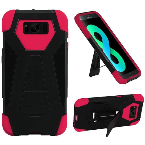 Insten T-Stand Hard Hybrid Silicone Cover Case w/stand For Samsung Galaxy S8 Plus, Black/Hot Pink