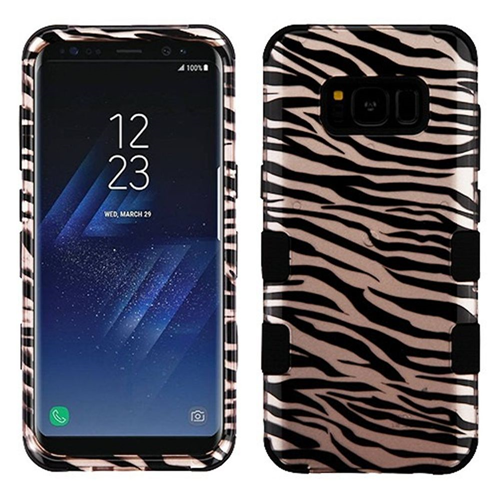 Insten Tuff Zebra Hard Hybrid Rubberized Silicone Case For Samsung Galaxy S8 Plus, Rose Gold/Black