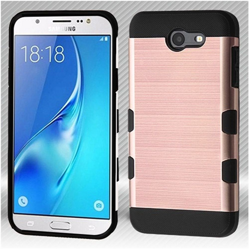 Insten Hard Brushed Case For Samsung Galaxy J7 (2017)/J7 Perx/J7 Sky Pro/J7 V, Rose Gold/Black