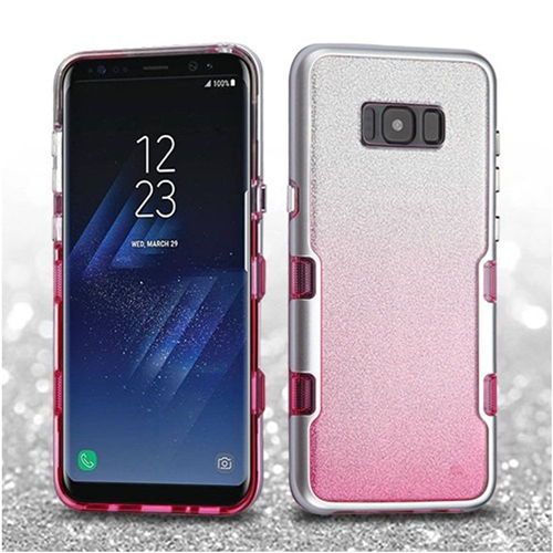 Insten Tuff Hard Dual Layer Glitter TPU Cover Case For Samsung Galaxy S8, Pink/Silver