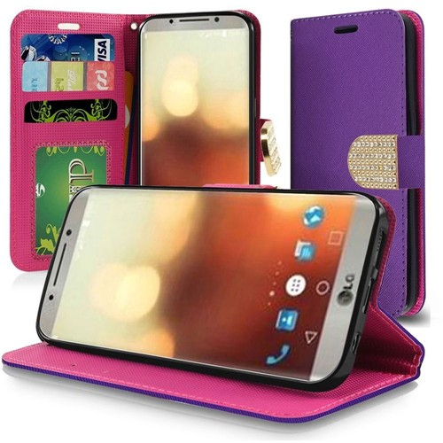 Insten Book-Style Leather Fabric Case Lanyard w/stand/card slot/Diamond For LG G6, Purple