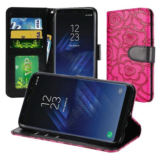 Insten Wallet Case for Samsung Galaxy S8 Plus - Hot Pink;Black;Rose