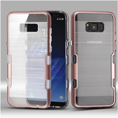 Insten Tuff Hard Hybrid Brushed TPU Case For Samsung Galaxy S8, Rose Gold/Clear