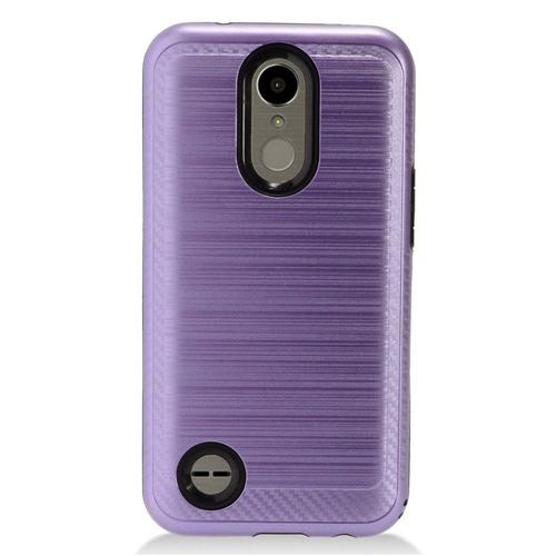 Insten Chrome Brushed Hard Cover Case For LG K10 (2017)/K20 Plus/K20 V, Purple/Black