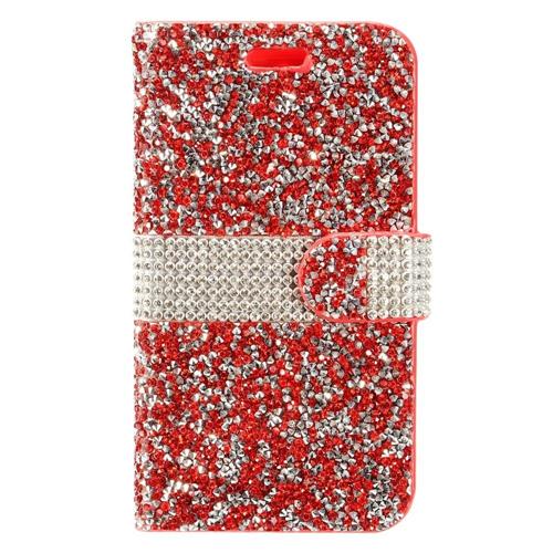 Insten Leather Diamante Case For LG Aristo/Fortune/K4 (2017)/K8 (2017)/LV3/Phoenix 3, Red/Silver