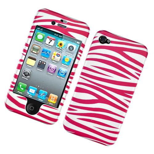 Insten Zebra Hard Rubber Cover Case For Apple iPhone 4/4S, Rose/White