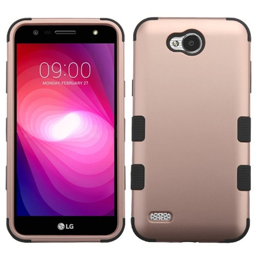 Insten Tuff Hard Dual Layer Plastic TPU Case For LG X Power 2, Rose Gold/Black