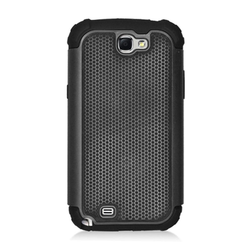 Insten Armor Vision Hard Dual Layer Rubber Silicone Cover Case For Samsung Galaxy Note II, Black