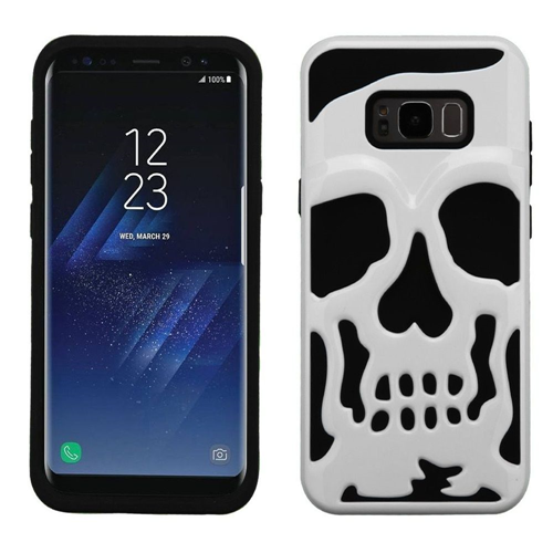 Insten Skullcap Hard Hybrid Plastic TPU Case For Samsung Galaxy S8 Plus, White/Black