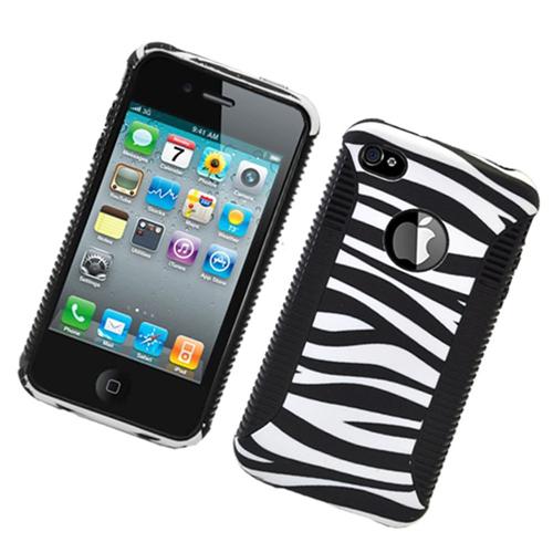 Insten Zebra Hard Hybrid Plastic TPU Cover Case For Apple iPhone 4/4S, Black/White
