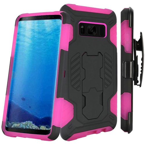 Insten SuperCoil Hard Hybrid Plastic Case w/stand/Holster For Samsung Galaxy S8, Black/Hot Pink