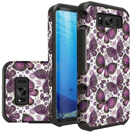 Insten Slim Butterflies Hard Hybrid Plastic TPU Case For Samsung Galaxy S8, Multi-Color
