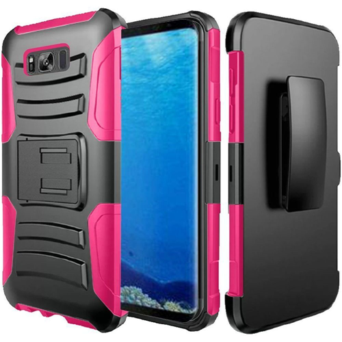 Insten Hard Rubber Coated Silicone Case w/stand/Holster For Samsung Galaxy S8, Black/Hot Pink