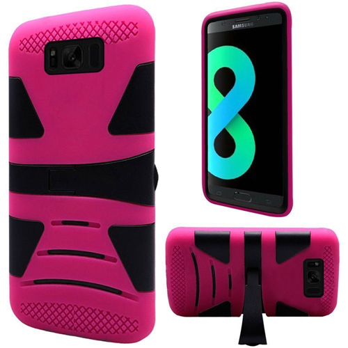 Insten Hard Hybrid Plastic TPU Case w/stand For Samsung Galaxy S8 Plus, Black/Hot Pink