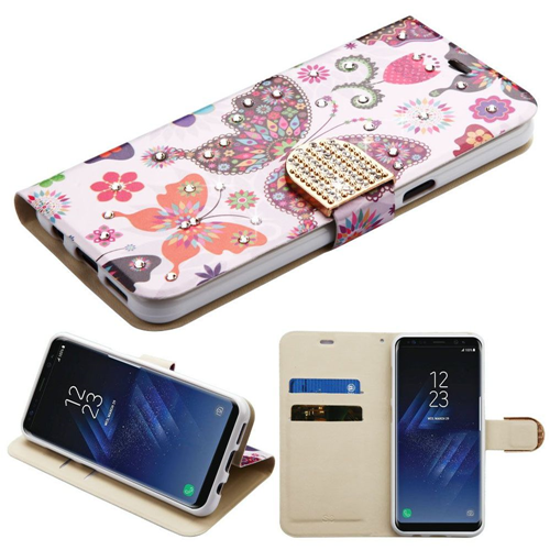 Insten Butterfly Wonderland Folio Leather Fabric Case w/stand For Samsung Galaxy S8, Multi-Color