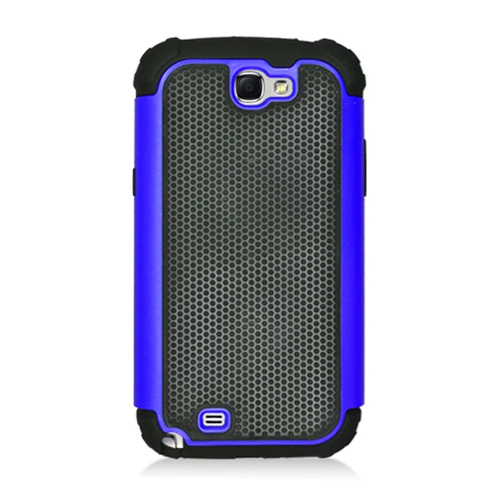 Insten Armor Vision Hard Dual Layer Rubber Silicone Case For Samsung Galaxy Note II, Black/Blue