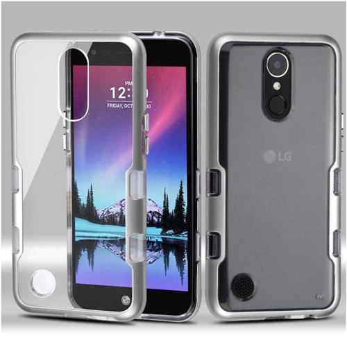 Insten Tuff Hard Hybrid Metallic TPU Case For LG Harmony/K10 (2017)/K20 Plus/K20 V, Silver/Clear