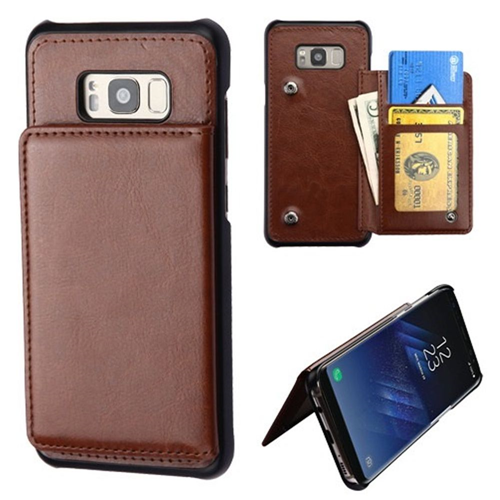 Insten Leather Fabric Case w/card holder/Photo Display For Samsung Galaxy S8 Plus, Brown