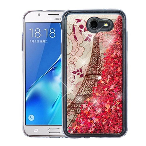 Insten Quicksand Tower Hard Case For Samsung Galaxy J7 (2017)/J7 Perx/J7 Sky Pro/J7 V, Rose Gold
