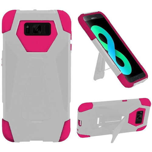 Insten T-Stand Hard Hybrid Rubberized Silicone Case For Samsung Galaxy S8 Plus, White/Hot Pink
