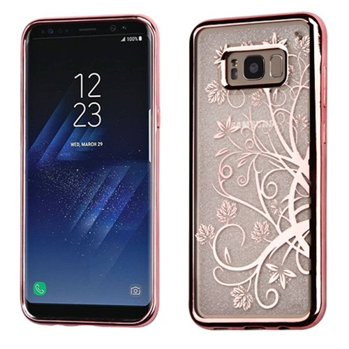 Insten Glitter Maple Vine Gel Clear Cover Case For Samsung Galaxy S8 Plus, Rose Gold