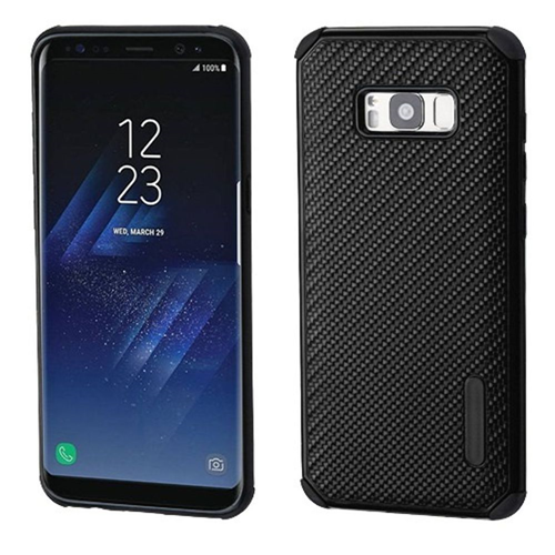 Insten Mat Weave Hard Hybrid Plastic TPU Cover Case For Samsung Galaxy S8 Plus, Black