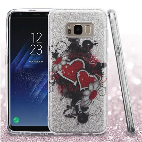 Insten Glitter Heart/Flower Hard Dual Layer Plastic TPU Case For Samsung Galaxy S8, Colorful