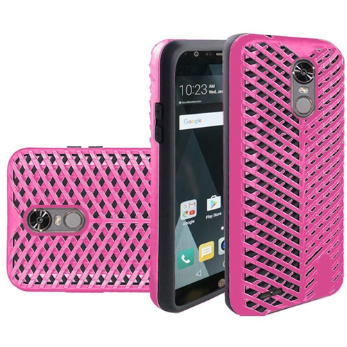 Insten ZigZag Hard Dual Layer TPU Cover Case For LG Stylo 3, Hot Pink/Black