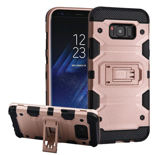 Insten Storm Tank Hard Dual Layer Plastic TPU Case w/stand For Samsung Galaxy S8, Rose Gold/Black