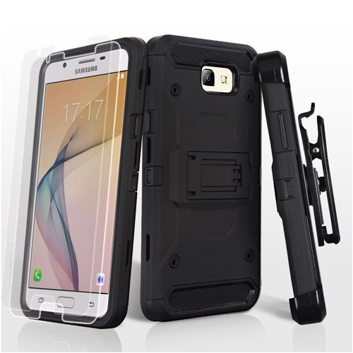Insten Hard 3 TPU Cover Case w/stand/Holster/Bundled For Samsung Galaxy J5 Prime/On5 (2016), Black