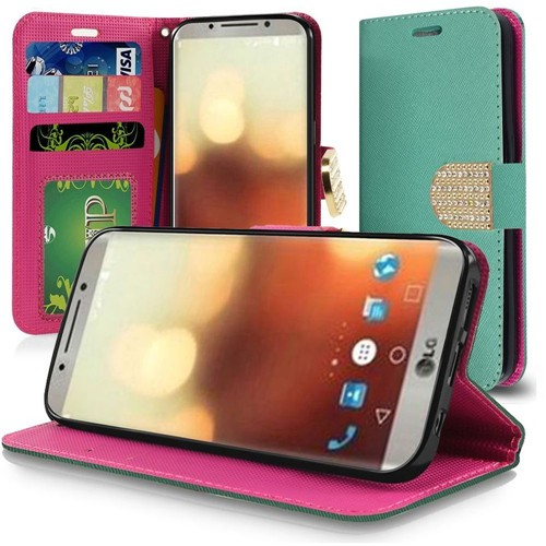 Insten Folio Leather Fabric Cover Case Lanyard w/stand/card holder/Diamond For LG G6, Teal