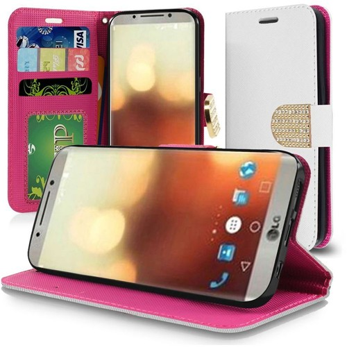 Insten Folio Leather Fabric Cover Case Lanyard w/stand/card slot/Diamond For LG G6, White