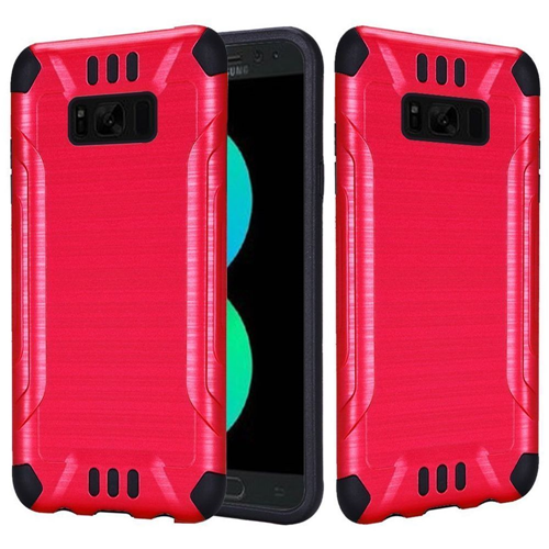 Insten Hard Hybrid Brushed TPU Case For Samsung Galaxy S8 Plus, Red/Black