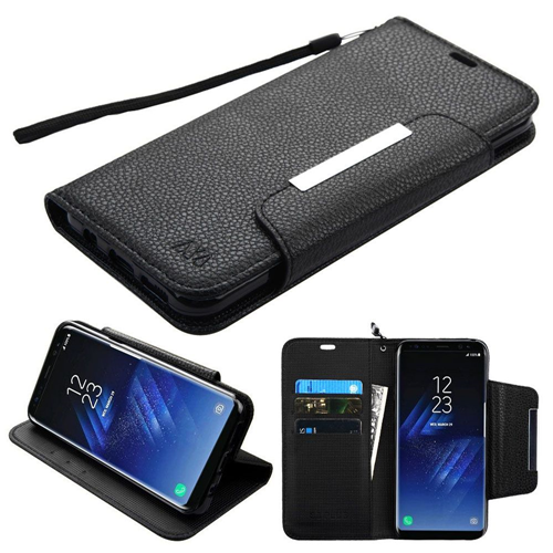 Insten Folio Leather Fabric Cover Case Lanyard w/stand For Samsung Galaxy S8 Plus, Black