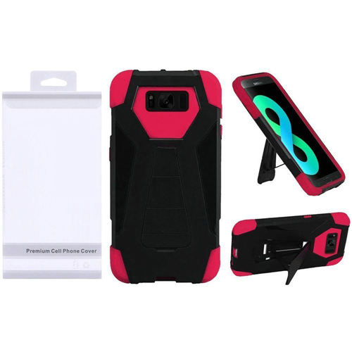 Insten T-Stand Hard Hybrid Plastic Silicone Case w/stand For Samsung Galaxy S8 Plus, Black/Hot Pink