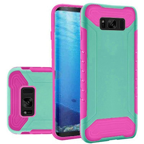 Insten Slim Armor Hard Hybrid Plastic TPU Cover Case For Samsung Galaxy S8, Teal/Hot Pink