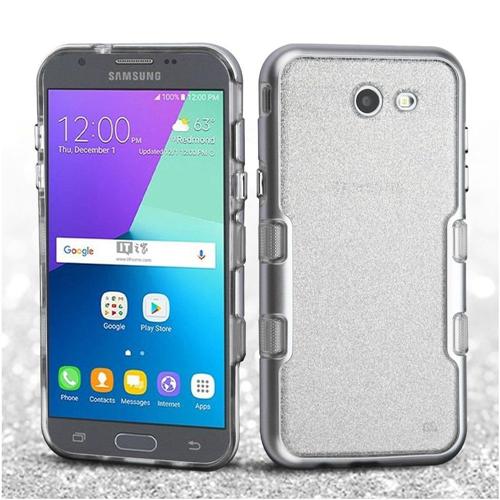 Insten Hard Hybrid Metallic Case For Samsung Galaxy Amp Prime 2/Express Prime 2/J3 (2017), Silver