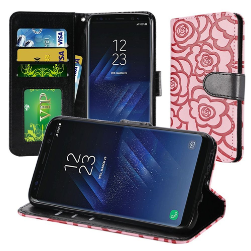 Insten Rose Flip Leather Fabric Case Lanyard w/stand/card holder For Samsung Galaxy S8, Pink/Black