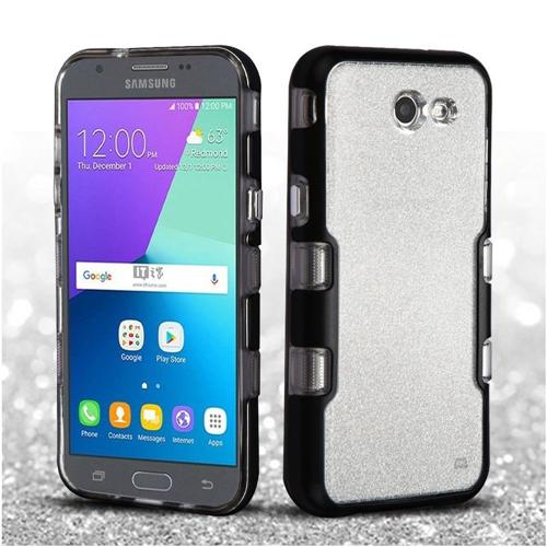 Insten Hard Hybrid Case For Samsung Galaxy Amp Prime 2/Express Prime 2/J3 (2017), Black/Silver