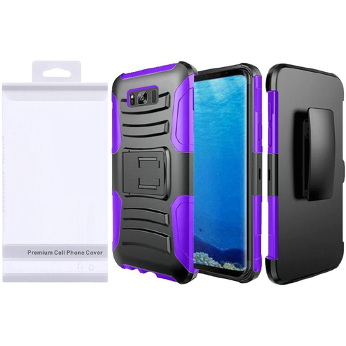 Insten Wave Symbiosis Hard Hybrid Plastic Case w/stand/Holster For Samsung Galaxy S8, Black/Purple