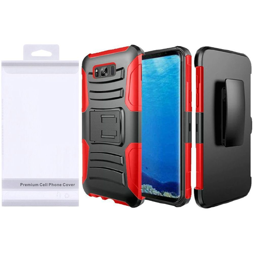Insten Wave Symbiosis Hard Dual Layer Plastic Case w/stand/Holster For Samsung Galaxy S8, Black/Red