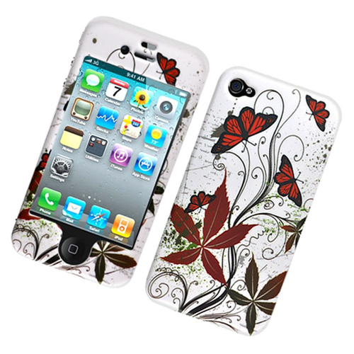 Insten Butterflies Hard Plastic Cover Case For Apple iPhone 4/4S, Multi-Color