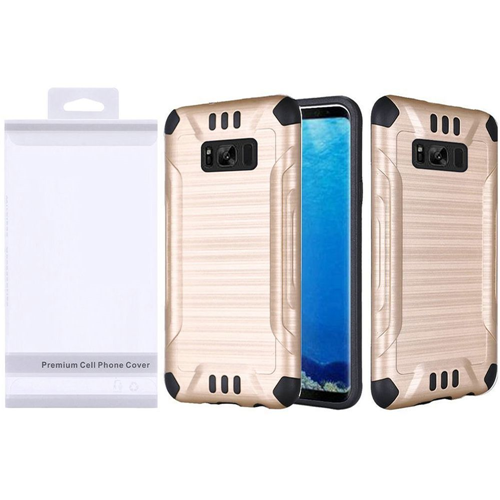 Insten Slim Armor Hard Hybrid Brushed TPU Case For Samsung Galaxy S8, Gold/Black