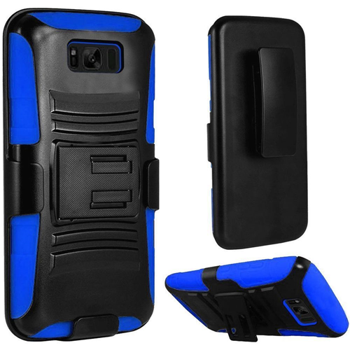 Insten Hard Hybrid Rubberized Silicone Case w/stand/Holster For Samsung Galaxy S8 Plus, Black/Blue